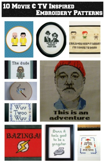 10 embroidery patterns inspired by movies and tv