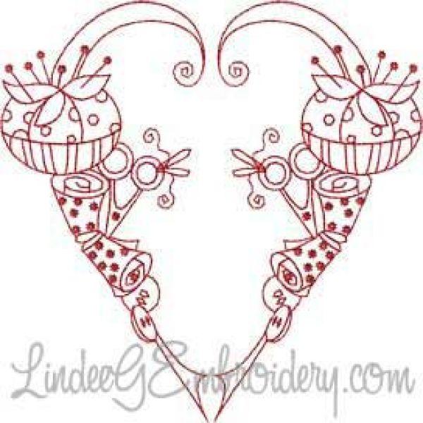 Embroidery stitches heart makaroka