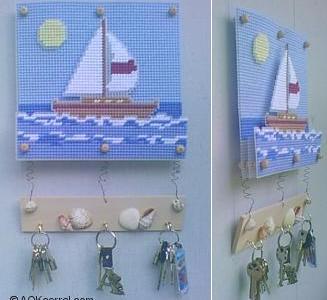 Free Pattern – Ocean and Sailboat Key Holder