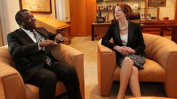 Ms Gillard held talks with Prime Minister Morgan Tsvangirai in Canberra on Monday, describing the democracy champion as more than just a leader.