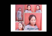 Fatuma Phiri posing with the stolen clothes before posting images on Facebook
