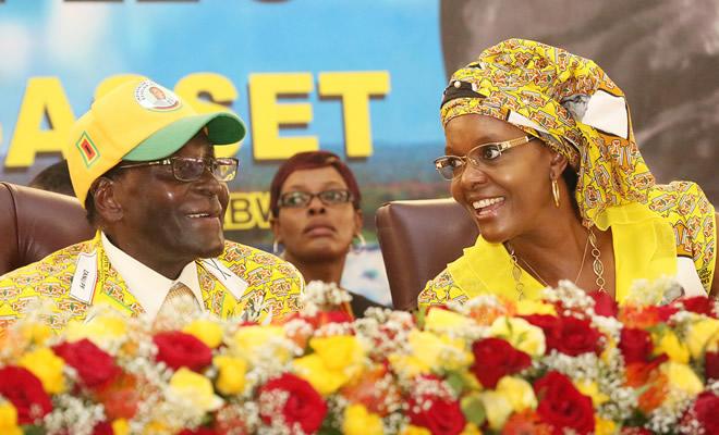 President Robert Mugabe and First Lady Grace Mugabe at Zanu PF conference in Victoria Falls