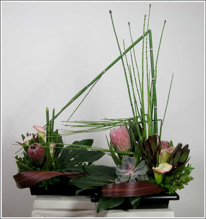 Equisitum Ikebana in two Containers, Design by Yukiko