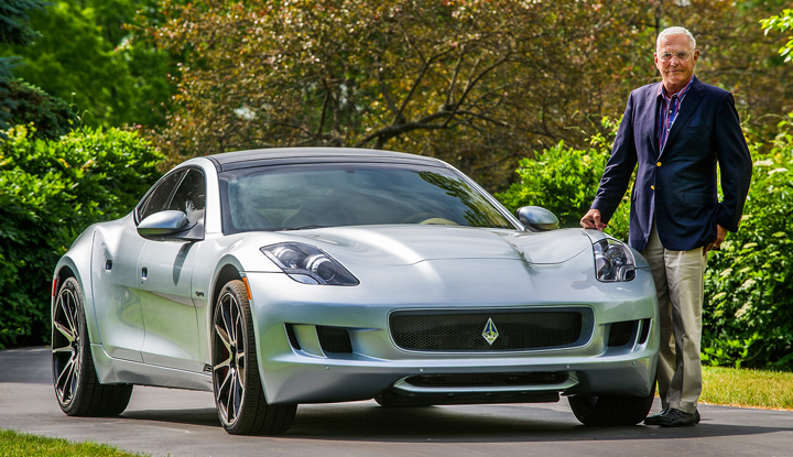 Bob Lutz with his Destino assembled in Auburn Hills, Michigan, by his new automotive company, VLF.