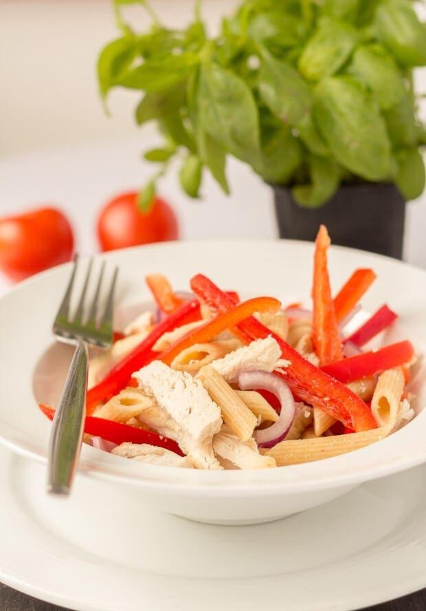 Chicken Pasta Salad with Tomato Vinaigrette