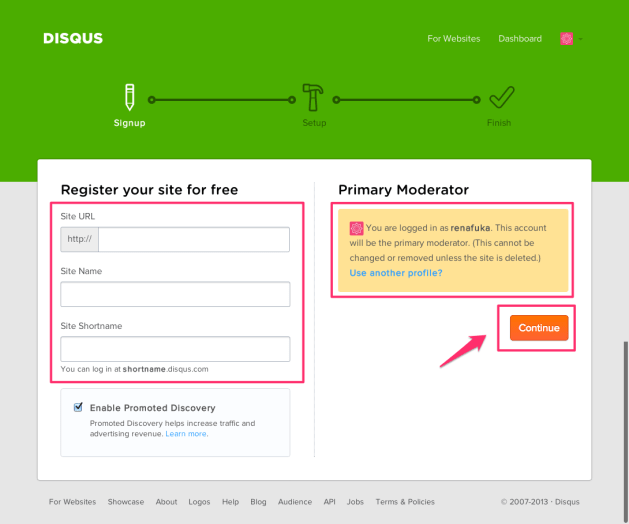 Disqus Register site 2