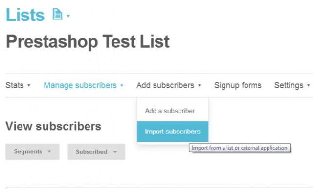 Prestashop newsletter subscribers Test List in Mailchimp