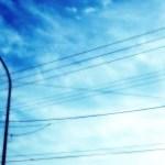 空と街灯の写真素材