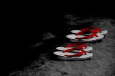赤い鼻緒の草履