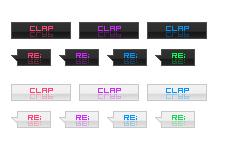 文字が反射するネオンカラーのweb拍手ボタン(透過GIF)(12パターン)