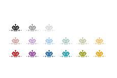 シンプルでガーリーな王冠のアイコン(透過GIF)(16パターン)