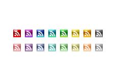 ガラスのような質感のRSSアイコン(16パターン)