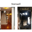This side by side comparison shows the location of a smoke detector on the first floor at the base of the stairs to the second floor in an undated realty photo of this home on the left. The photo on the right is of the same area after the fire.