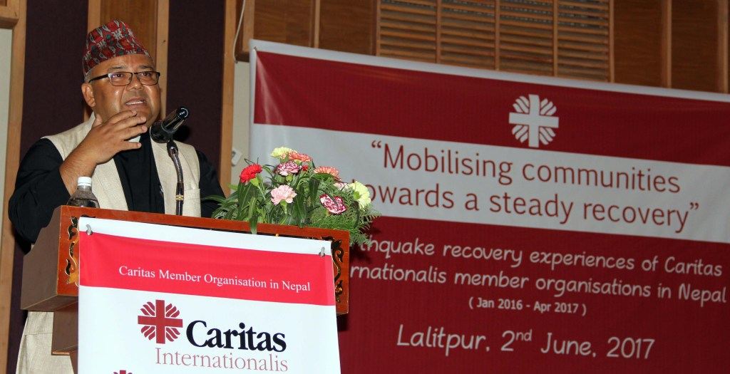 Fr. Silas Bogati; executive director of Caritas in Nepal addressing the 2nd earthquake commemoration event in Lalitpur on 2 June.