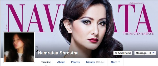 namrata shrestha fb profile