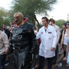 Nemesis from Resident Evil flanked by Umbrella scientists led the zombie walk. (Photo by Christen Bejar)