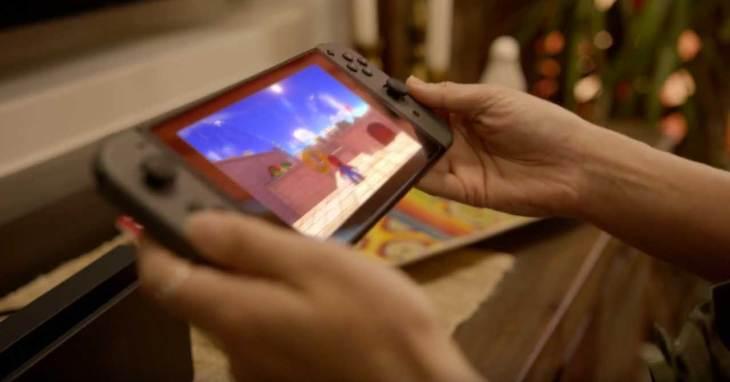 Super Mario game on Nintendo Switch handheld
