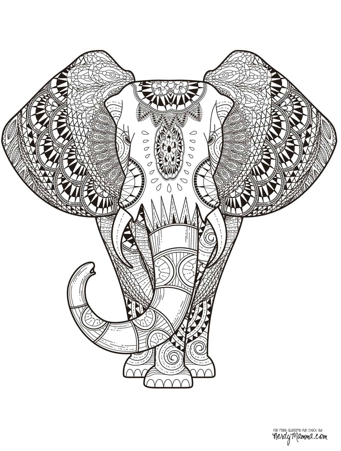 11 free printable adult coloring pages for Coloring page elephant