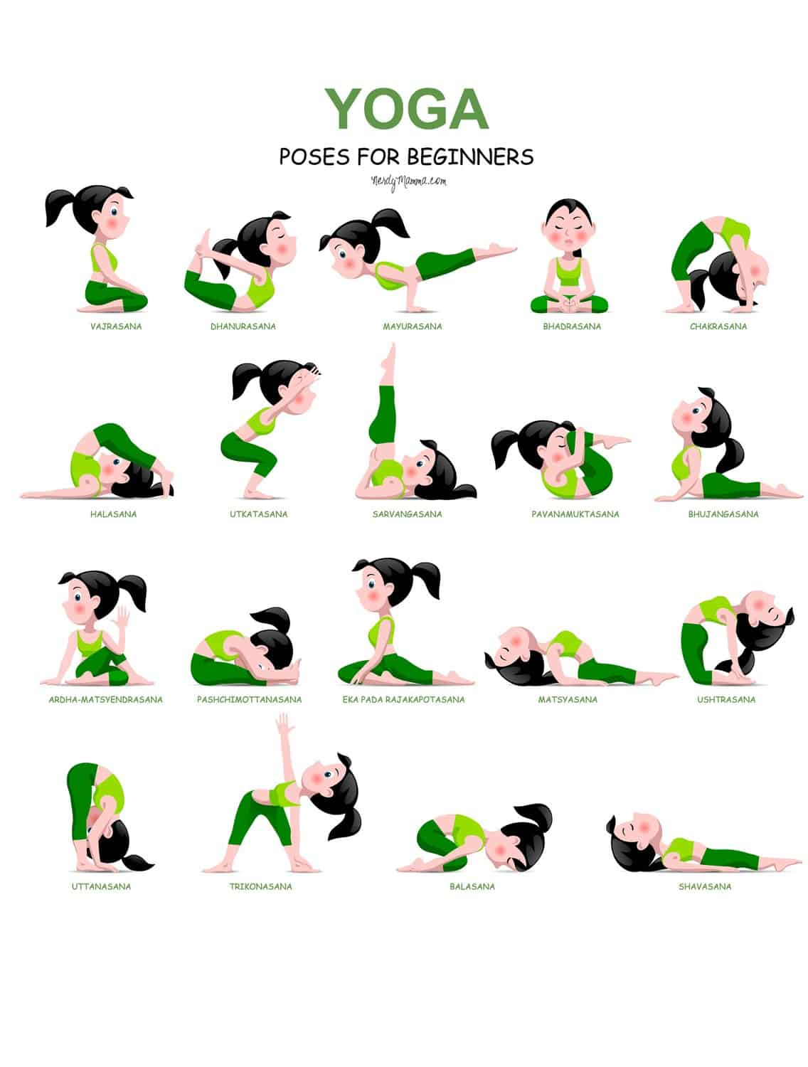 20 Easy Yoga Poses for Beginners with a Free Printable ...