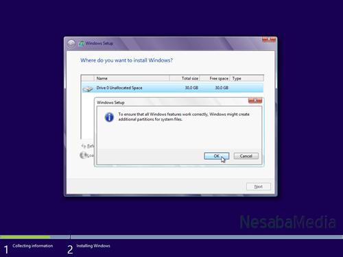 pilih OK untuk pembuatan system reserved partition
