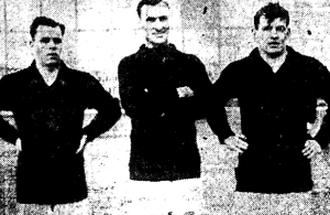 Goalkeeper Tommy Murdoch, center halfback William Thomson and  left halfback Fred Watkins all helped Shawsheen become an unlikely Open Cup champion in 1925. (Photo credit: Fall River Daily Globe)