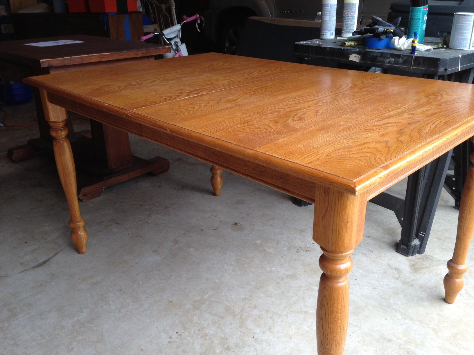 oak farmhouse table refinish kitchen table Oak Kitchen Table Before