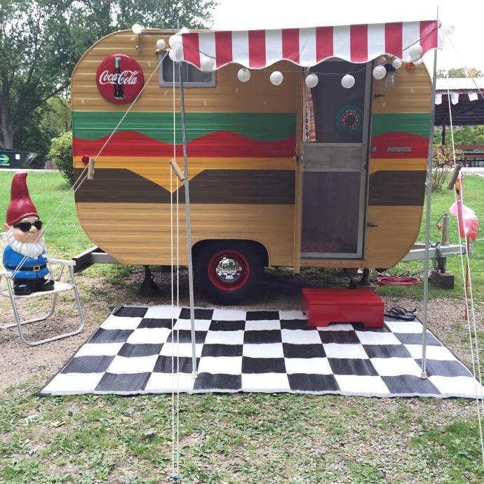 Bob the Burger VintageTinTrailer vintagestyle vintageairstream fallcamping vintagetrailer vintagecamper rally