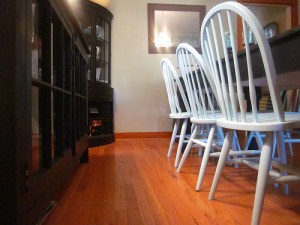 Weekend projects: repurposing stuff to make a new chandelier and painting the Windsor chairs…again.