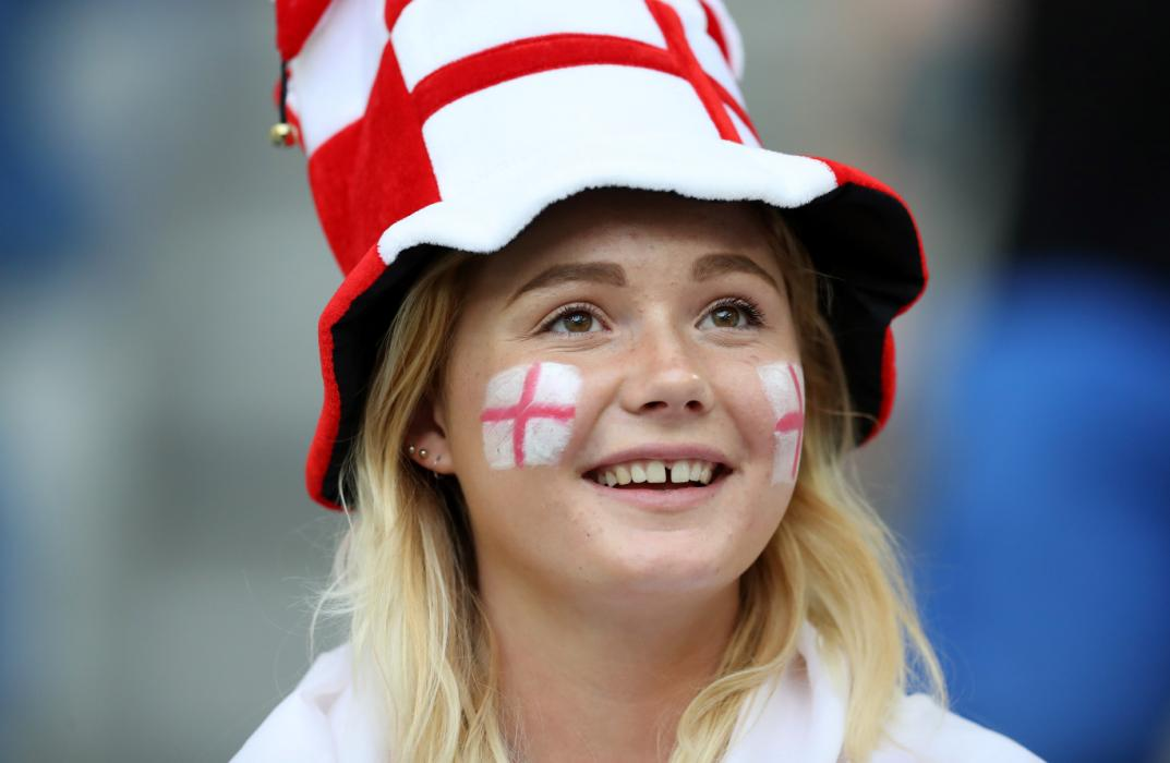 An English supporter is pictured ahead of the Euro 2016 group B football match between England and Russia at the Stade Velodrome in Marseille on June 11, 2016. / AFP PHOTO / Valery HACHE