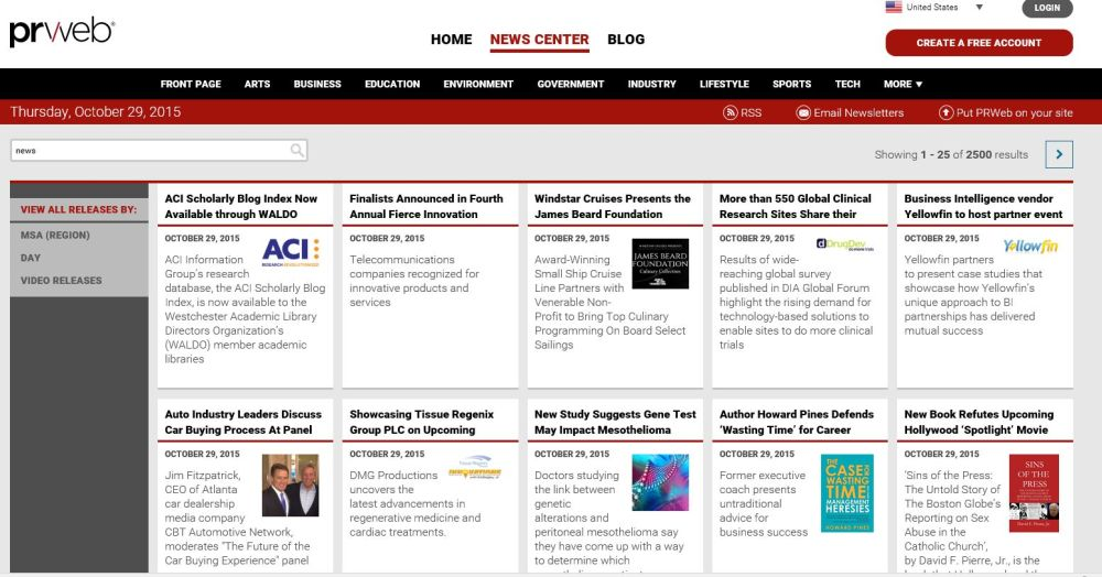 prweb front page press realease