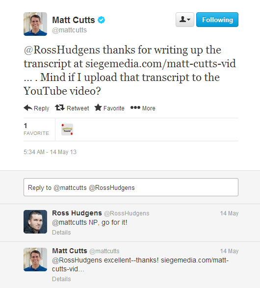 matt cuts reply with tweet