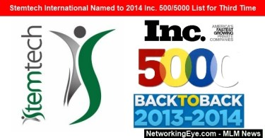 Stemtech International Named to 2014 Inc under 500 List for Third Time