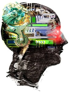 The image is a pencil drawing of a head with a colorized computer component brain area.