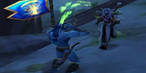 The image shows Nanotroll capturing the flag in Warsong Gulch, World of Warcraft.