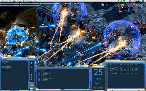 This image shows a desktop screensaver based on the Starcraft game.