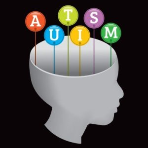 The image shows a head with the word autism presented in bubbles.