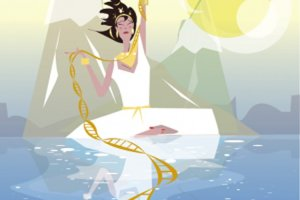 This image shows the Clotho from greek mythology. she is standing on a strand of DNA.
