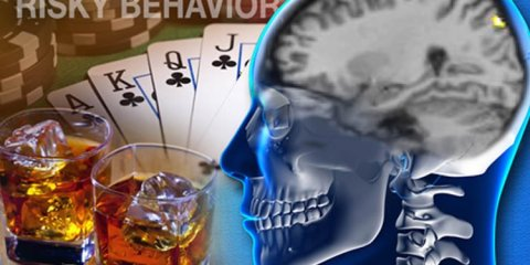 The image shows the outline of a human head with a club royal flush of cards and two glasses of whiskey.