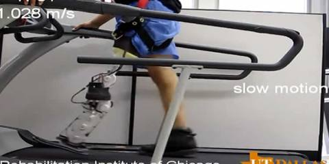 The image shows one of the participants walking on a treadmill.