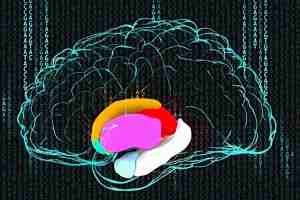 This image shows a drawing of a brain against a background made up on GATC code.