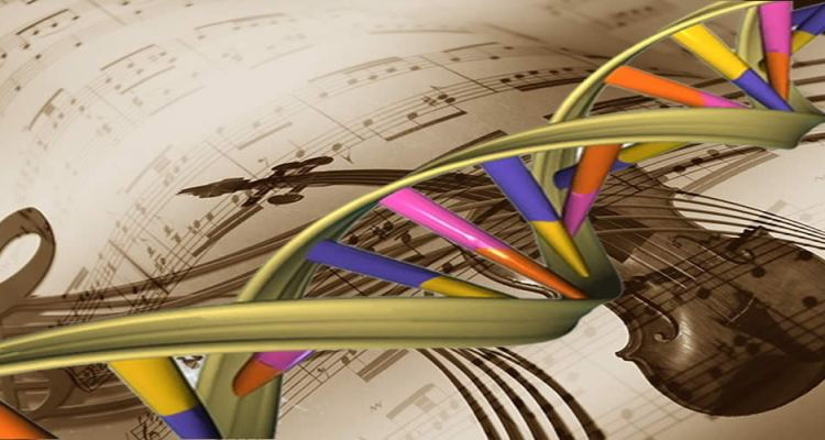 This image shows sheet music and a violin. A strand of DNA is overlayed.