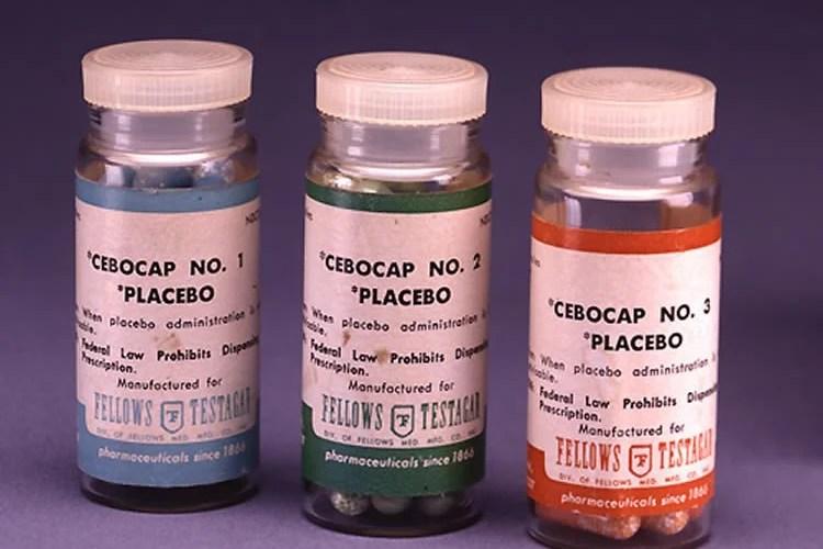 Photo of placebo bottles.
