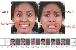 Image shows a woman pulling different faces.