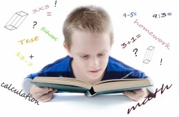 Image shows a child studying a math book.