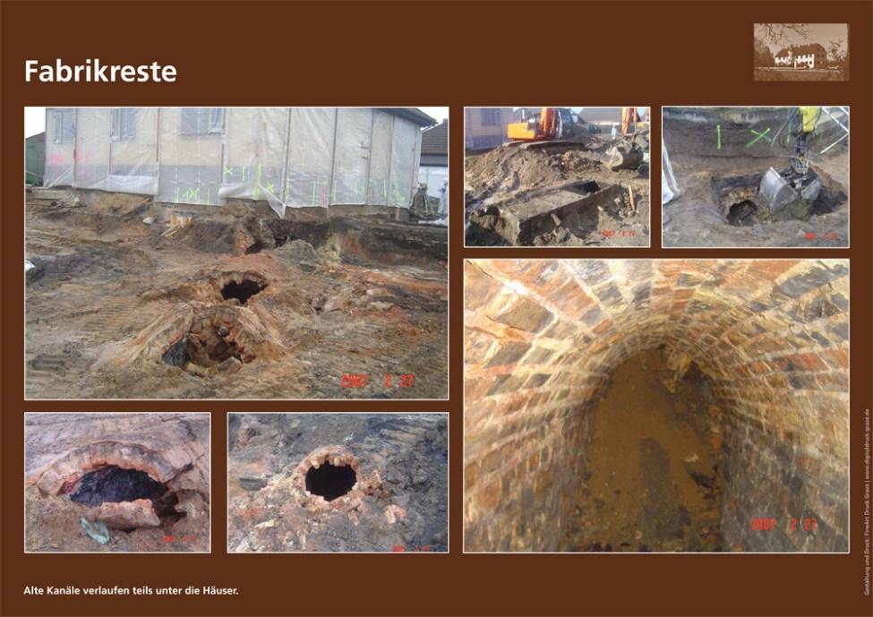 Eine Dokumentation des Projektbeirats Altlasten der Sanierung des Wohngebiets nach der Jahrtausendwende gibt einen Eindruck davon, was alles von der Fabrik übrig geblieben war.