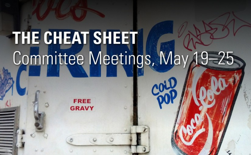 The Cheat Sheet: Committee Meetings, May 19-25