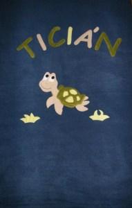 Teknősbéka középkék alapon