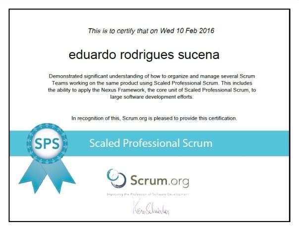 Scaled Professional Scrum - SPS - Certification - Eduardo Rodrigues Sucena