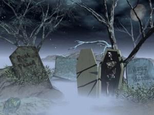 Halloween graveyard art