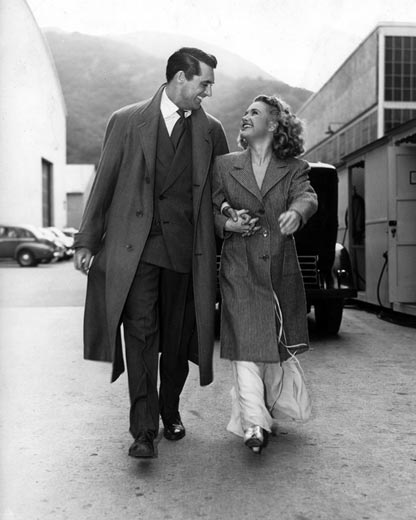 """Behind-the-scenes shot of Cary Grant and Priscilla Lane, stars of Frank Capra's """"Arsenic and Old Lace"""". Photo © Warner Bros Entertainment Inc"""